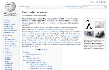 http://en.wikipedia.org/wiki/Computer_science#Areas_of_computer_science
