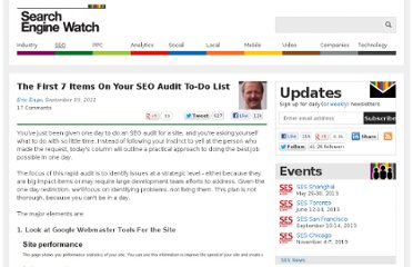 http://searchenginewatch.com/article/2109957/The-First-7-Items-On-Your-SEO-Audit-To-Do-List