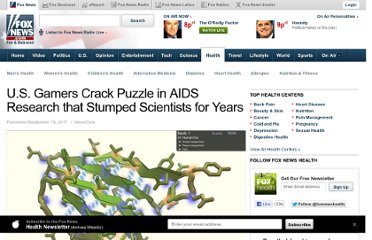 http://www.foxnews.com/health/2011/09/19/us-gamers-crack-puzzle-in-aids-research-that-stumped-scientists-for-years/