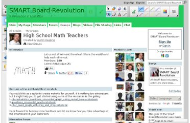 http://smartboardrevolution.ning.com/group/highschoolmathteachers
