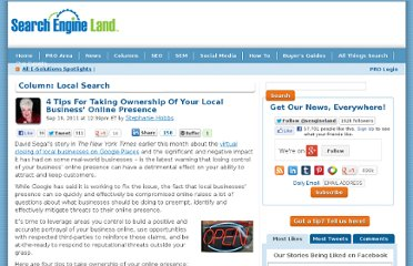http://searchengineland.com/4-tips-for-taking-ownership-of-your-local-business-online-presence-93070