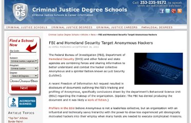 http://www.criminaljusticedegreeschools.com/fbi-and-homeland-security-target-anonymous-0918111/