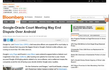 http://www.bloomberg.com/news/2011-09-19/google-oracle-court-meeting-may-end-legal-dispute-over-android.html