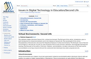 http://en.wikibooks.org/wiki/Issues_in_Digital_Technology_in_Education/Second_Life