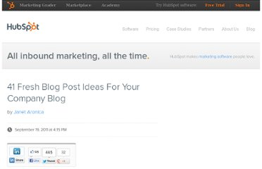 http://blog.hubspot.com/blog/tabid/6307/bid/23973/41-Fresh-Blog-Post-Ideas-For-Your-Company-Blog.aspx