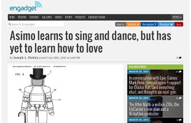 http://www.engadget.com/2010/01/25/asimo-learns-to-sing-and-dance-but-has-yet-to-learn-how-to-love/