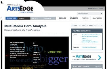 http://artsedge.kennedy-center.org/educators/lessons/grade-9-12/Heroes_Multi_Media_Analysis.aspx