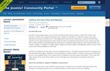 http://community.joomla.org/blogs/community/1426-joomla-on-mutiple-databases.html