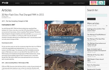 http://www.thefwa.com/article/30-non-flash-sites-that-changed-fwa-in-2011