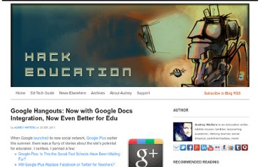 http://www.hackeducation.com/2011/09/20/google-hangouts-now-with-google-docs-integration-now-even-better-for-edu/