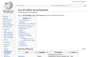 http://en.wikipedia.org/wiki/List_of_online_encyclopedias