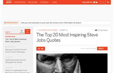 http://thenextweb.com/apple/2011/09/20/the-top-20-most-inspiring-steve-jobs-quotes/