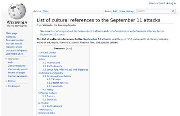 http://en.wikipedia.org/wiki/List_of_cultural_references_to_the_September_11_attacks