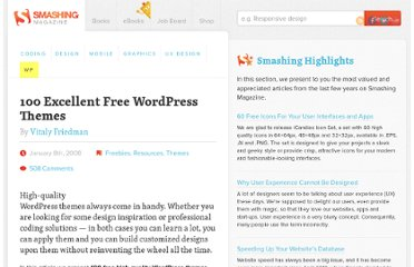 http://wp.smashingmagazine.com/2008/01/08/100-excellent-free-high-quality-wordpress-themes/