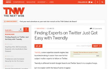 http://thenextweb.com/au/2010/01/12/finding-experts-twitter-easy-twendly/
