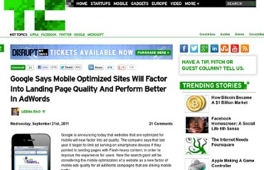 http://techcrunch.com/2011/09/21/goolge-says-mobile-optimized-sites-will-factor-into-landing-page-quality-and-perform-better-in-adwords/
