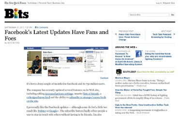 http://bits.blogs.nytimes.com/2011/09/21/facebooks-latest-site-updates-have-fans-and-foe/