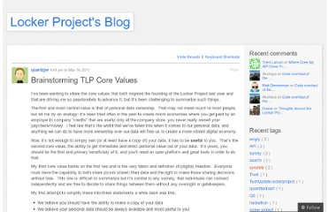 http://blog.lockerproject.org/2011/05/16/brainstorming-tlp-core-values/