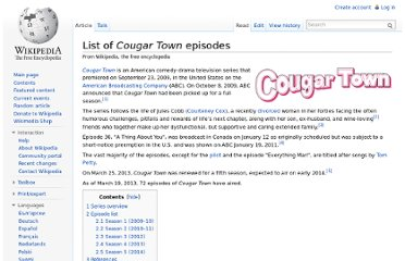 http://en.wikipedia.org/wiki/List_of_Cougar_Town_episodes