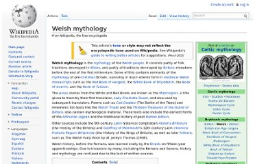 http://en.wikipedia.org/wiki/Welsh_mythology