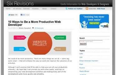 http://sixrevisions.com/project-management/ways-more-productive-web-developer/