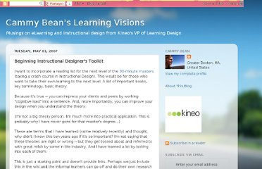 http://cammybean.kineo.com/2007/05/beginning-instructional-designers.html