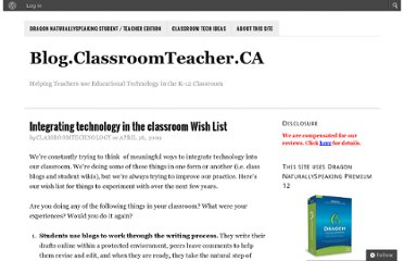 http://blog.classroomteacher.ca/247/integrating-technology-in-the-classroom-wish-list/