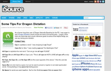 http://isource.com/2009/12/09/some-tips-for-dragon-dictation/