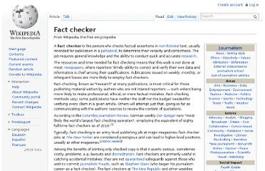 http://en.wikipedia.org/wiki/Fact_checker