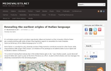 http://www.medievalists.net/2011/09/22/revealing-the-earliest-origins-of-italian-language/