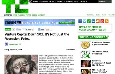 http://techcrunch.com/2009/04/17/venture-capital-down-50-it%e2%80%99s-not-just-the-recession-folks/