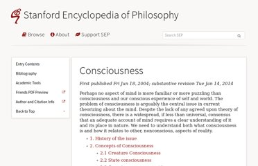 http://plato.stanford.edu/entries/consciousness/