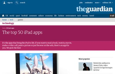 http://www.guardian.co.uk/technology/2011/sep/25/50-best-ipad-apps-apple