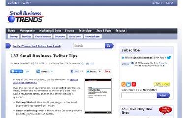 http://smallbiztrends.com/2009/07/137-small-business-twitter-tips.html