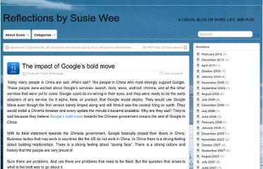 http://www.susiewee.com/blog/2010/01/13/the-impact-of-googles-bold-move/
