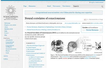 http://www.scholarpedia.org/article/Neural_correlates_of_consciousness