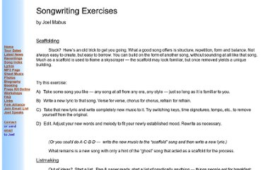 http://www.joelmabus.com/songwriting_exercises.htm