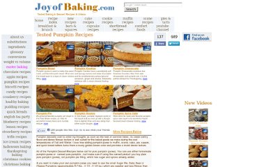 http://www.joyofbaking.com/PumpkinRecipes.html