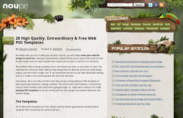 http://www.noupe.com/design/20-high-quality-extraordinary-free-web-psd-templates.html