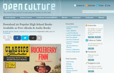 http://www.openculture.com/2011/09/popular_high_school_books_available_as_free_ebooks_audiobooks.html