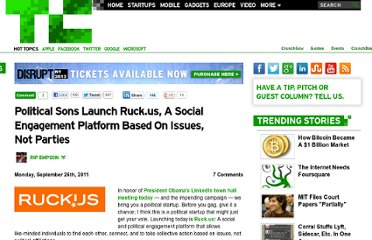 http://techcrunch.com/2011/09/26/political-sons-launch-ruck-us-a-social-engagement-platform-based-on-issues-not-parties/