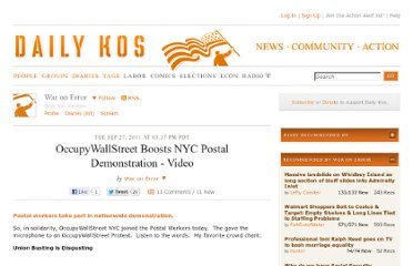 http://www.dailykos.com/story/2011/09/27/1020760/-OccupyWallStreet-Boosts-NYC-Postal-Demonstration-Video