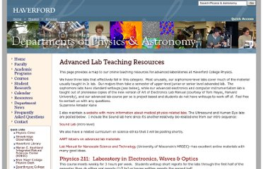 http://www.haverford.edu/physics/Amador/AdvancedLabTeachingResources.php