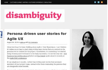 http://www.disambiguity.com/persona-driven-user-stories-for-agile-ux/