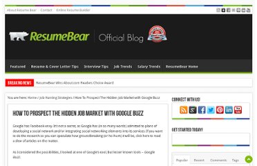 http://blog.resumebear.com/job-hunting-strategies/how-to-prospect-the-hidden-job-market-with-google-buzz/