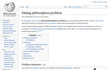 http://en.wikipedia.org/wiki/Dining_philosophers_problem