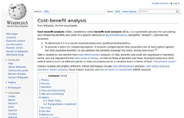 http://en.wikipedia.org/wiki/Cost%E2%80%93benefit_analysis