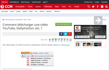 http://www.commentcamarche.net/faq/32795-comment-telecharger-une-video-youtube-dailymotion-etc