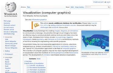 http://en.wikipedia.org/wiki/Visualization_(computer_graphics)#Visualization_techniques