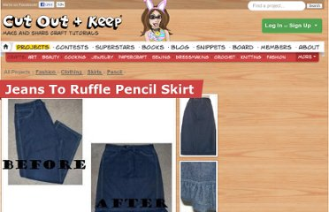 http://www.cutoutandkeep.net/projects/jeans-to-ruffle-pencil-skirt